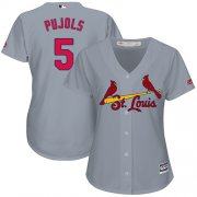 Wholesale Cheap Cardinals #5 Albert Pujols Grey Road Women's Stitched MLB Jersey