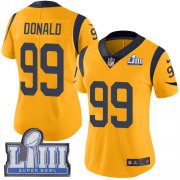 Wholesale Cheap Nike Rams #99 Aaron Donald Gold Super Bowl LIII Bound Women's Stitched NFL Limited Rush Jersey