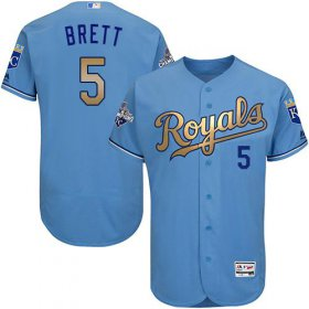Wholesale Cheap Royals #5 George Brett Light Blue FlexBase Authentic 2015 World Series Champions Gold Program Stitched MLB Jersey