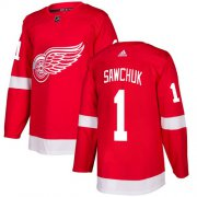 Wholesale Cheap Adidas Red Wings #1 Terry Sawchuk Red Home Authentic Stitched NHL Jersey