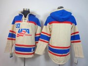 Wholesale Cheap Olympic Team USA Blank Cream Throwback Sawyer Hooded Sweatshirt Stitched NHL Jersey