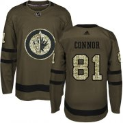 Wholesale Cheap Adidas Jets #81 Kyle Connor Green Salute to Service Stitched NHL Jersey