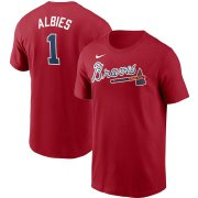 Wholesale Cheap Atlanta Braves #1 Ozzie Albies Nike Name & Number Team T-Shirt Red
