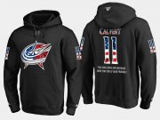 Wholesale Cheap Blue Jackets #11 Matt Calvert NHL Banner Wave Usa Flag Black Hoodie