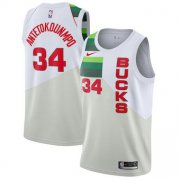 Wholesale Cheap Men's Milwaukee Bucks 34 Giannis Antetokounmpo Nike White 2018-19 Swingman Earned Edition Jersey
