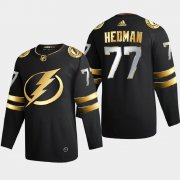 Cheap Tampa Bay Lightning #77 Victor Hedman Men's Adidas Black Golden Edition Limited Stitched NHL Jersey