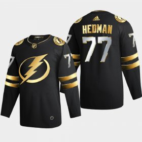 Cheap Tampa Bay Lightning #77 Victor Hedman Men\'s Adidas Black Golden Edition Limited Stitched NHL Jersey