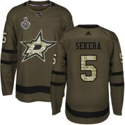 Cheap Adidas Stars #5 Andrej Sekera Green Salute to Service Youth 2020 Stanley Cup Final Stitched NHL Jersey
