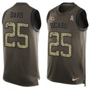 Wholesale Cheap Nike Bears #25 Mike Davis Green Men's Stitched NFL Limited Salute To Service Tank Top Jersey