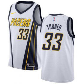 Wholesale Cheap Nike Pacers #33 Myles Turner White NBA Swingman Earned Edition Jersey