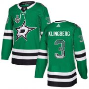 Wholesale Cheap Adidas Stars #3 John Klingberg Green Home Authentic Drift Fashion 2020 Stanley Cup Final Stitched NHL Jersey