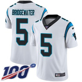 Wholesale Cheap Nike Panthers #5 Teddy Bridgewater White Men\'s Stitched NFL 100th Season Vapor Untouchable Limited Jersey
