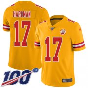 Wholesale Cheap Nike Chiefs #17 Mecole Hardman Gold Men's Stitched NFL Limited Inverted Legend 100th Season Jersey