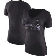 Wholesale Cheap Colorado Rockies Nike Women's Tri-Blend Practice T-Shirt Black