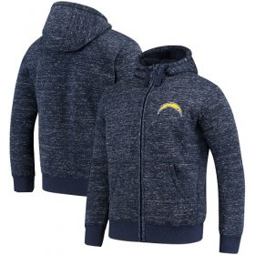 Wholesale Cheap Men\'s Los Angeles Chargers G-III Sports by Carl Banks Heathered Navy Discovery Sherpa Full-Zip Jacket