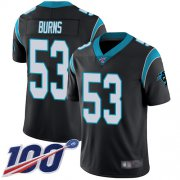 Wholesale Cheap Nike Panthers #53 Brian Burns Black Team Color Men's Stitched NFL 100th Season Vapor Limited Jersey