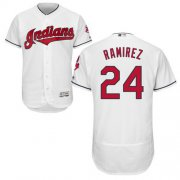 Wholesale Cheap Indians #24 Manny Ramirez White Flexbase Authentic Collection Stitched MLB Jersey