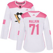 Wholesale Cheap Adidas Penguins #71 Evgeni Malkin White/Pink Authentic Fashion Women's Stitched NHL Jersey