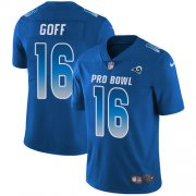 Wholesale Cheap Nike Rams #16 Jared Goff Royal Youth Stitched NFL Limited NFC 2018 Pro Bowl Jersey