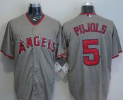 Wholesale Cheap Angels of Anaheim #5 Albert Pujols Grey New Cool Base Stitched MLB Jersey