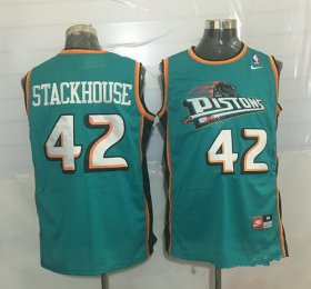 Wholesale Cheap Men\'s Detroit Pistons #42 Jerry Stackhouse Teal Green Hardwood Classics Soul Swingman Throwback Jersey