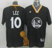 Wholesale Cheap Golden State Warriors #10 David Lee Revolution 30 Swingman 2014 New Black Short-Sleeved Jersey With 2015 Finals Champions Patch