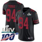 Wholesale Cheap Nike 49ers #94 Solomon Thomas Black Super Bowl LIV 2020 Alternate Men's Stitched NFL 100th Season Vapor Limited Jersey