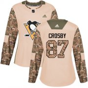 Wholesale Cheap Adidas Penguins #87 Sidney Crosby Camo Authentic 2017 Veterans Day Women's Stitched NHL Jersey