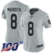 Wholesale Cheap Nike Raiders #8 Marcus Mariota Silver Women's Stitched NFL Limited Inverted Legend 100th Season Jersey