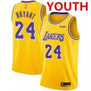 Cheap Youth Los Angeles Lakers #24 Kobe Bryant Gold Basketball Swingman Icon Edition Jersey