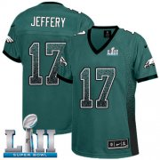 Wholesale Cheap Nike Eagles #17 Alshon Jeffery Midnight Green Team Color Super Bowl LII Women's Stitched NFL Elite Drift Fashion Jersey