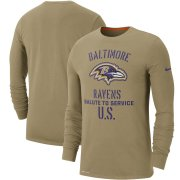 Wholesale Cheap Men's Baltimore Ravens Nike Tan 2019 Salute to Service Sideline Performance Long Sleeve Shirt