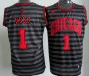 Wholesale Cheap Chicago Bulls #1 Derrick Rose Gray With Black Pinstripe Jersey