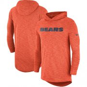 Wholesale Cheap Nike Chicago Bears Orange Sideline Slub Performance Hooded Long Sleeve T-Shirt