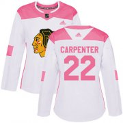Wholesale Cheap Adidas Blackhawks #22 Ryan Carpenter White/Pink Authentic Fashion Women's Stitched NHL Jersey