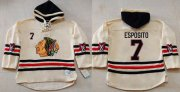 Wholesale Blackhawks #7 Tony Esposito Cream Heavyweight Pullover Hoodie Stitched NHL Jersey