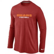 Wholesale Cheap Nike Chicago Bears Authentic Font Long Sleeve T-Shirt Red