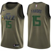 Wholesale Cheap Nike Jazz #15 Derrick Favors Green Salute to Service NBA Swingman Jersey