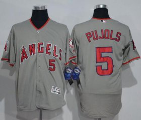 Wholesale Cheap Angels of Anaheim #5 Albert Pujols Grey Flexbase Authentic Collection Stitched MLB Jersey