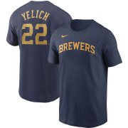 Wholesale Cheap Milwaukee Brewers #22 Christian Yelich Nike Name & Number T-Shirt Navy