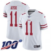 Wholesale Cheap Nike 49ers #11 Brandon Aiyuk White Youth Stitched NFL 100th Season Vapor Untouchable Limited Jersey