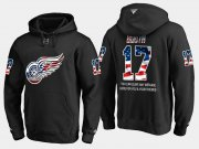 Wholesale Cheap Red Wings #17 David Booth NHL Banner Wave Usa Flag Black Hoodie