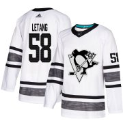 Wholesale Cheap Adidas Penguins #58 Kris Letang White Authentic 2019 All-Star Stitched Youth NHL Jersey