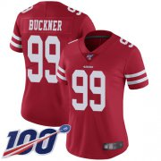 Wholesale Cheap Nike 49ers #99 DeForest Buckner Red Team Color Women's Stitched NFL 100th Season Vapor Limited Jersey