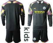 Wholesale Cheap Manchester City Blank Black Goalkeeper Long Sleeves Kid Soccer Club Jersey