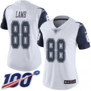 Wholesale Cheap Nike Cowboys #88 CeeDee Lamb White Women's Stitched NFL Limited Rush 100th Season Jersey