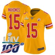 Wholesale Cheap Nike Chiefs #15 Patrick Mahomes Gold Super Bowl LIV 2020 Women's Stitched NFL Limited Inverted Legend 100th Season Jersey