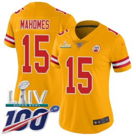 Wholesale Cheap Nike Chiefs #15 Patrick Mahomes Gold Super Bowl LIV 2020 Women\'s Stitched NFL Limited Inverted Legend 100th Season Jersey