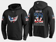 Wholesale Cheap Capitals #32 Dale Hunter NHL Banner Wave Usa Flag Black Hoodie