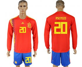 Wholesale Cheap Spain #20 Asensio Red Home Long Sleeves Soccer Country Jersey